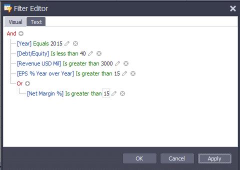 Filter editror