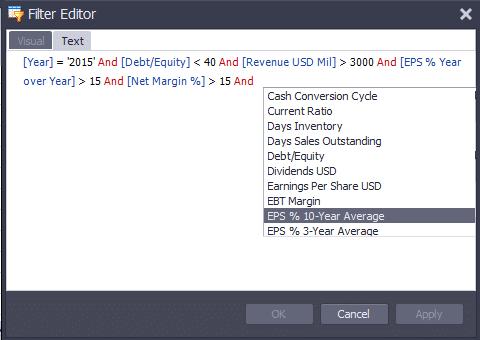 Filter editror text