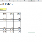 Balance Sheet Ratios in Excel using MarketXLS