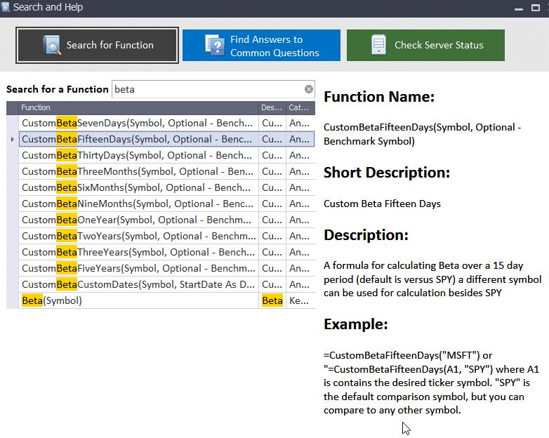 Stock Beta Functions