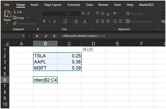 Efficient frontier using Excel