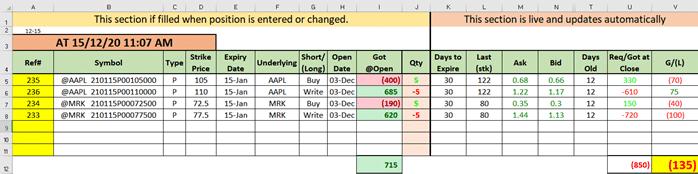 Managing option trades