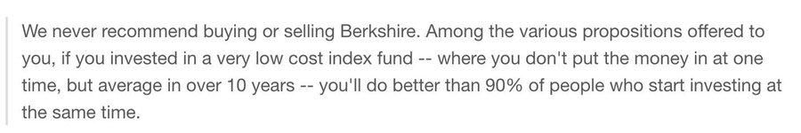 Warren Buffet on index funds